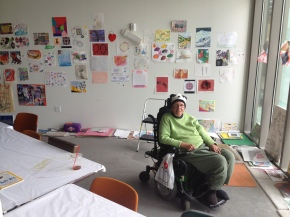 Kathleen Flannigan at the Ed Roberts Campus art studio in October 2012